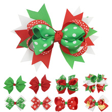 2018 New Christmas Hair Accessories Childrens Bow Hairpin Snowflake European And American Hairclip