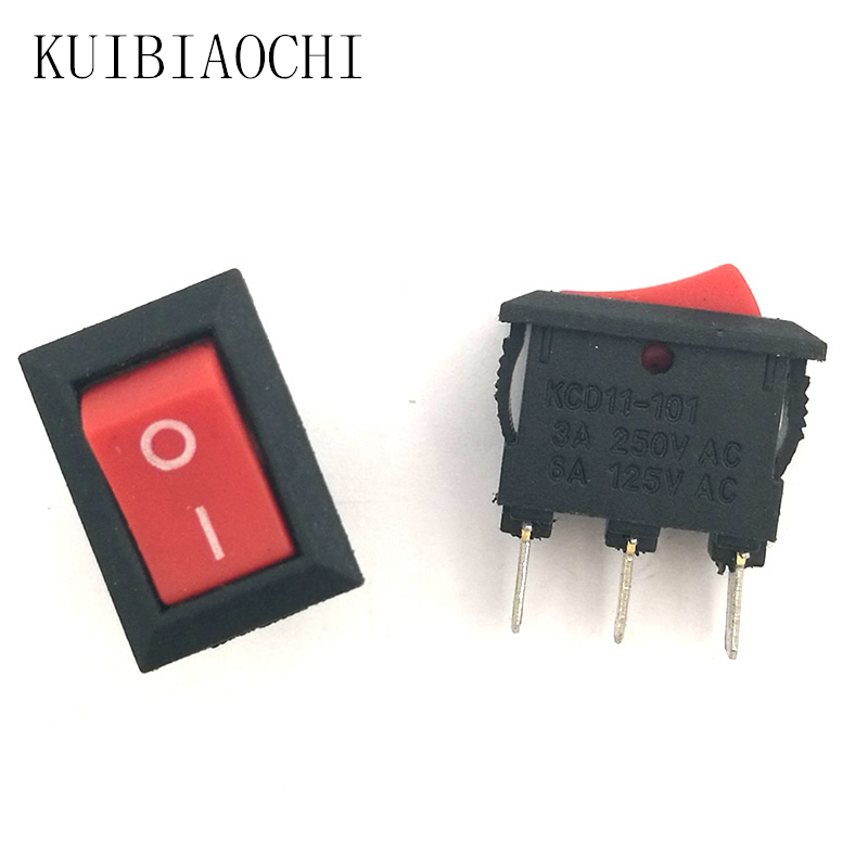 A20 20pcs/lot Mini Boat Rocker Switch 3A 250V AC SPDT Snap in ON-OFF 3 pin 10*15mm red switches цена