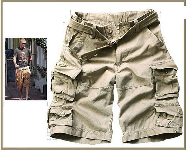 Новинка, Летний стиль, мужские повседневные армейские камуфляжные шорты Карго, хлопковые короткие штаны, военные камуфляжные модные шорты, мужские пляжные шорты - Цвет: Beige
