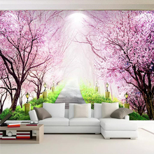 Custom wallpaper cherry blossom forest stone road end living room TV background wall family art high-grade waterproof material