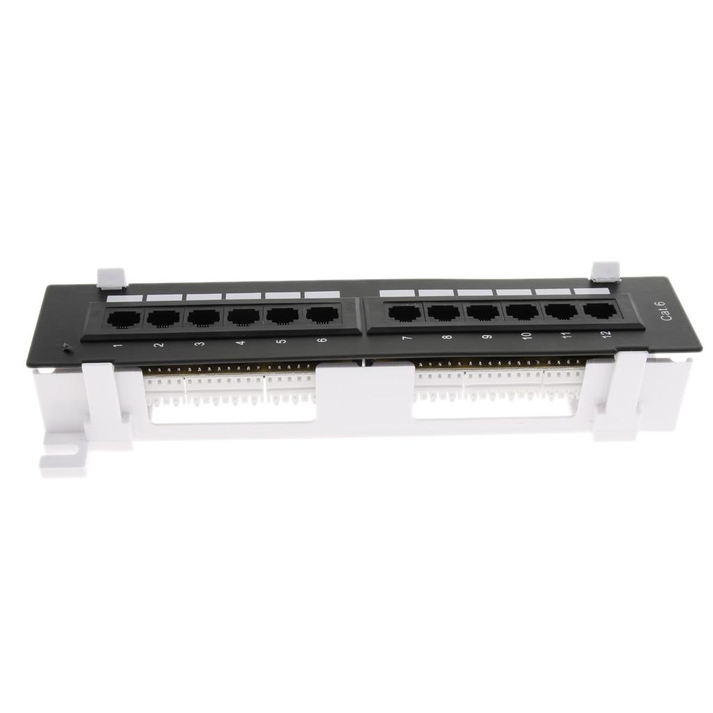 Network Tool Kit 12-port Cat5e/6 UTP LAN Wall Patch Panel RJ45 Networking Wall Mount Rack Mount Bracket Black