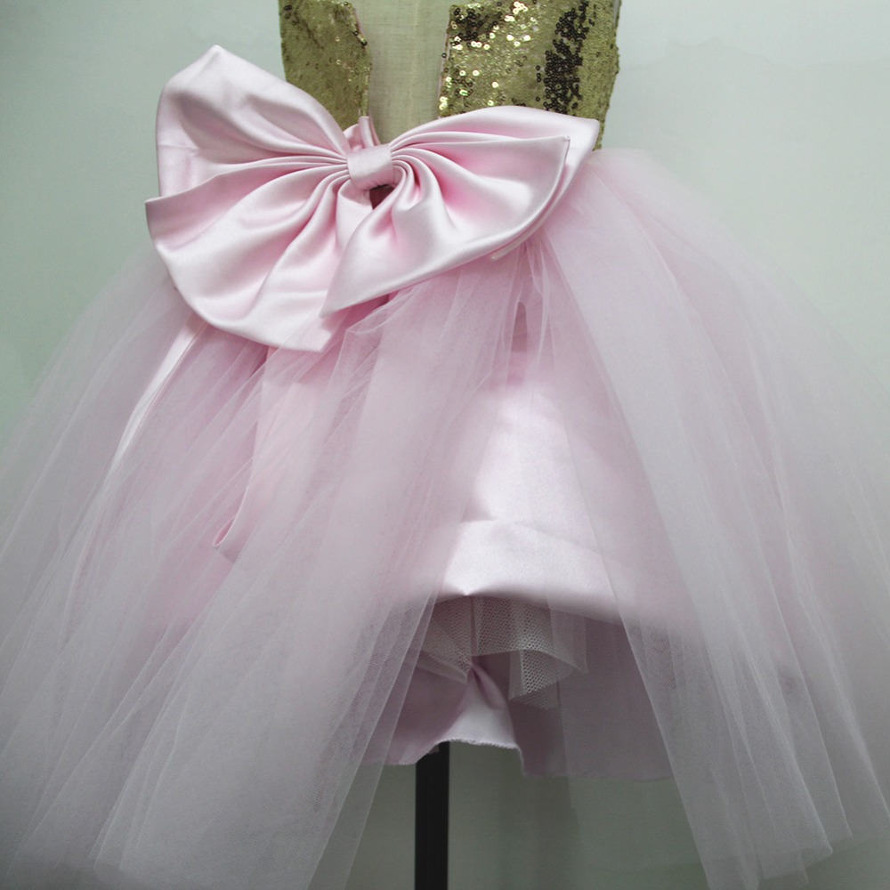 Pink Teen Wedding Dress Sequin Knee Length O-neck Paillette Girls Sequin Dress for Girls Sequin Evening Dress Tutu with Bowknot (21)