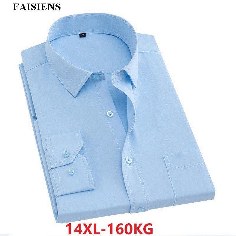 Men Formal Shirt Long Sleeve Business 7XL 8XL  9XL High Quality Autumn Larger Size Big 10XL 14XL Man White Blue Shirt 48