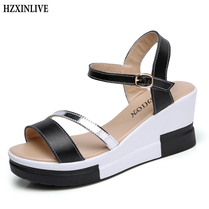 HZXINLIVE Elegant Summer Sandals Women High Heel Wedges Shoes Woman Round-toe Roman Sandals Ladies Footwear Female Casual Shoes women sandals 2016 fashion woman summer shoes sandals female beach wedges shoes high heel shoes sandals