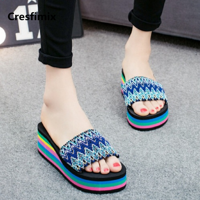Cresfimix women fashion 2018 ribbon striped 7cm high heel slippers lady cute comfortable slides female comfortable slippers a596