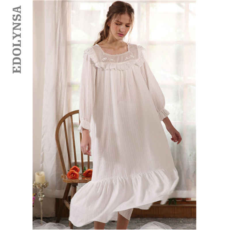 814b0a635f Autumn Vintage Ruffles Slash Nightgown Negligee Long White Cotton Night  Dress Women Sleepwear Home Wear Cute