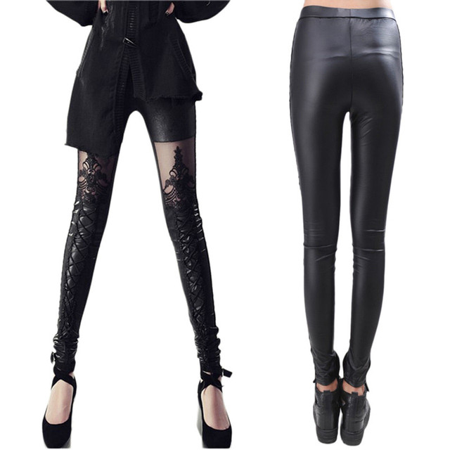 44e3f1707f6ced Fashion Sexy Women Ladies Faux Leather Gothic Punk Leggings Pants Lace  Patchwork Skinny Black Trousers