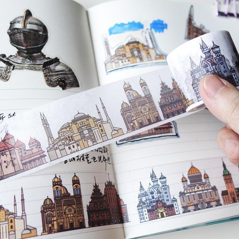 4cm Castle Building Decorative Pattern Washi Tape Adhesive Tape DIY Scrapbooking Sticker Label Craft Masking Tape