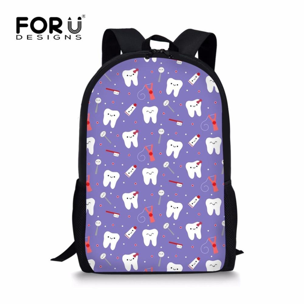 FORUDESIGNS Cute Dental School Bag for Teenager Girls Cool Purple Kids School Bagpack Designer Children Kids Schoolbag Bookbags