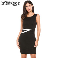 Meaneor Women Casual Dress O Neck Sleeveless Contrast Color Slim Geometric Pleated Work Cocktail Bodycon Tank