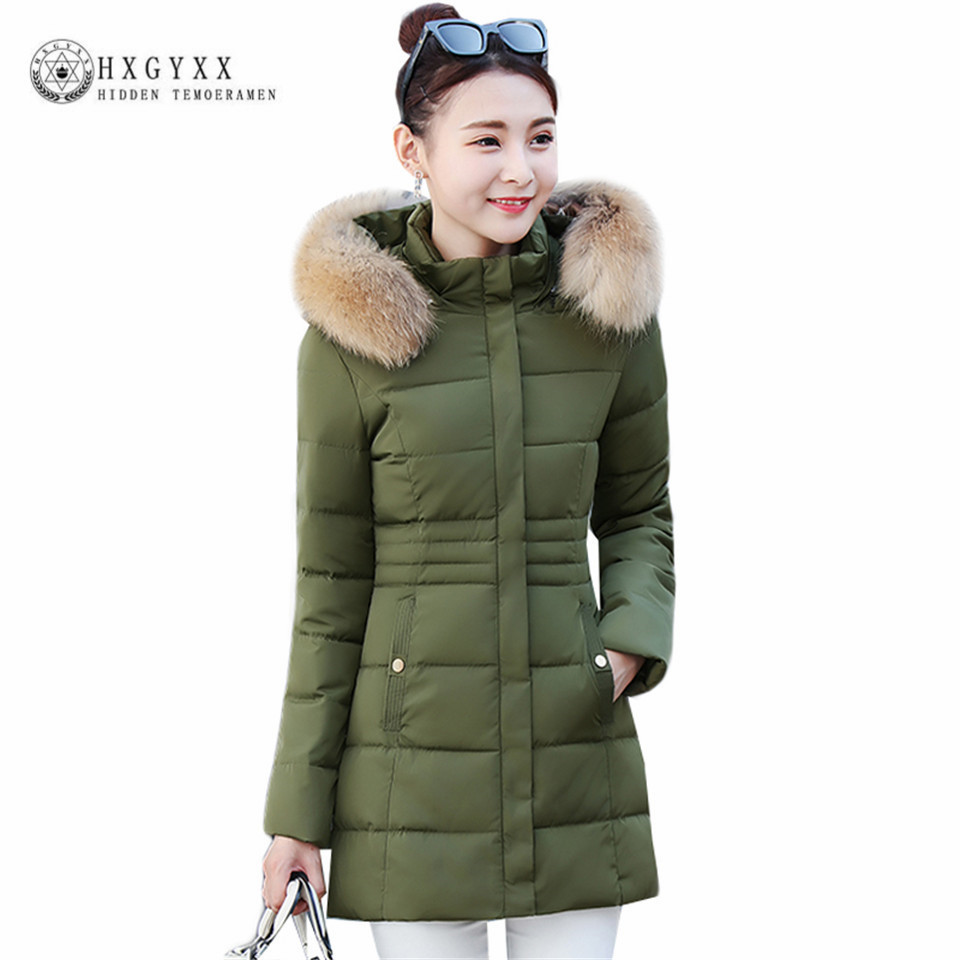 Winter Jacket Female 2017 Cotton-Padded Warm Parkas Fur Fashion Long Slim Hooded Wadded Coat Plus Size Warm Women Clothing Okb51 2017 women winter jacket new fashion cotton padded long hooded coat parkas female wadded outwear fur collar slim warm parkas
