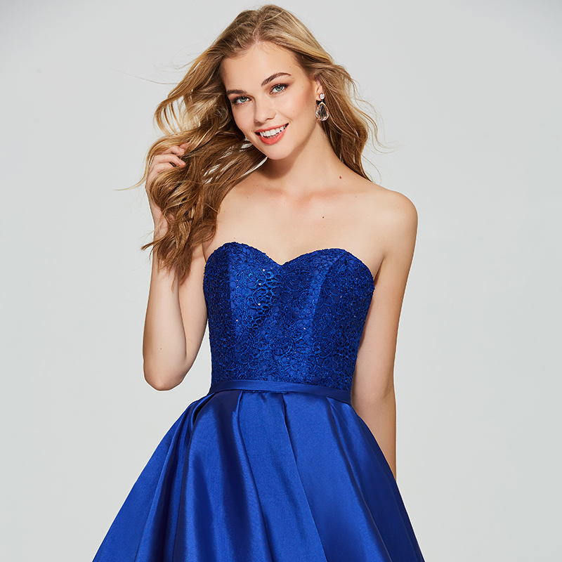 Tanpell asymmetry homecoming dress royal blue lace sleeveless a line gown  women back lace up cocktail custom homecoming dresses f5a3e09b73a1