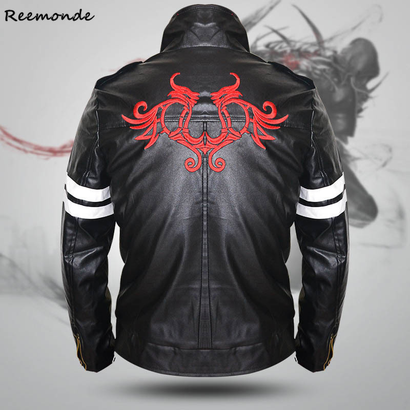 Games Prototype Alex Mercer Cosplay Costumes PU Leather Winter Jackets Coat Dragon Embroidery Men's Jacket For Boys Clothing
