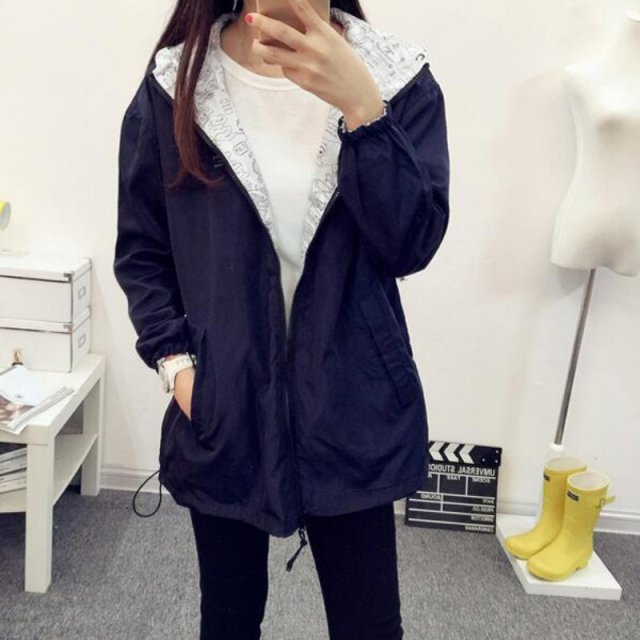 Plus Size Two Side Wear Autumn Women Fashion Jacket Coat Pocket Zipper Hooded Cartoon Print Outwear