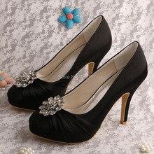 Wedopus MW515 Искрение Свадебная Обувь Кристалл Насосы Платформы Круглым Носком Черный Платье Женщины Челнока