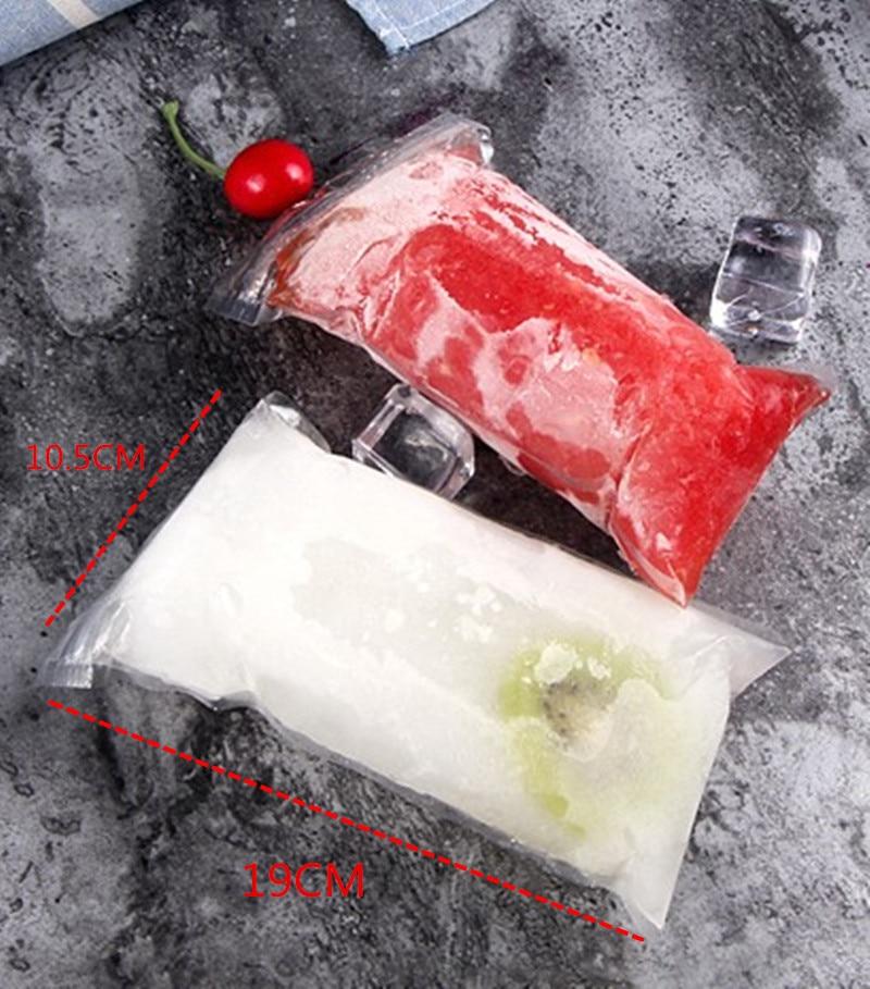 SHENHONG 20pcs/Pack Plastic FDA Popsicles Molds Freezer Bags Ice Cream Pop Making Forzen Sucker DIY Yogurt Summer Drinks Lolly
