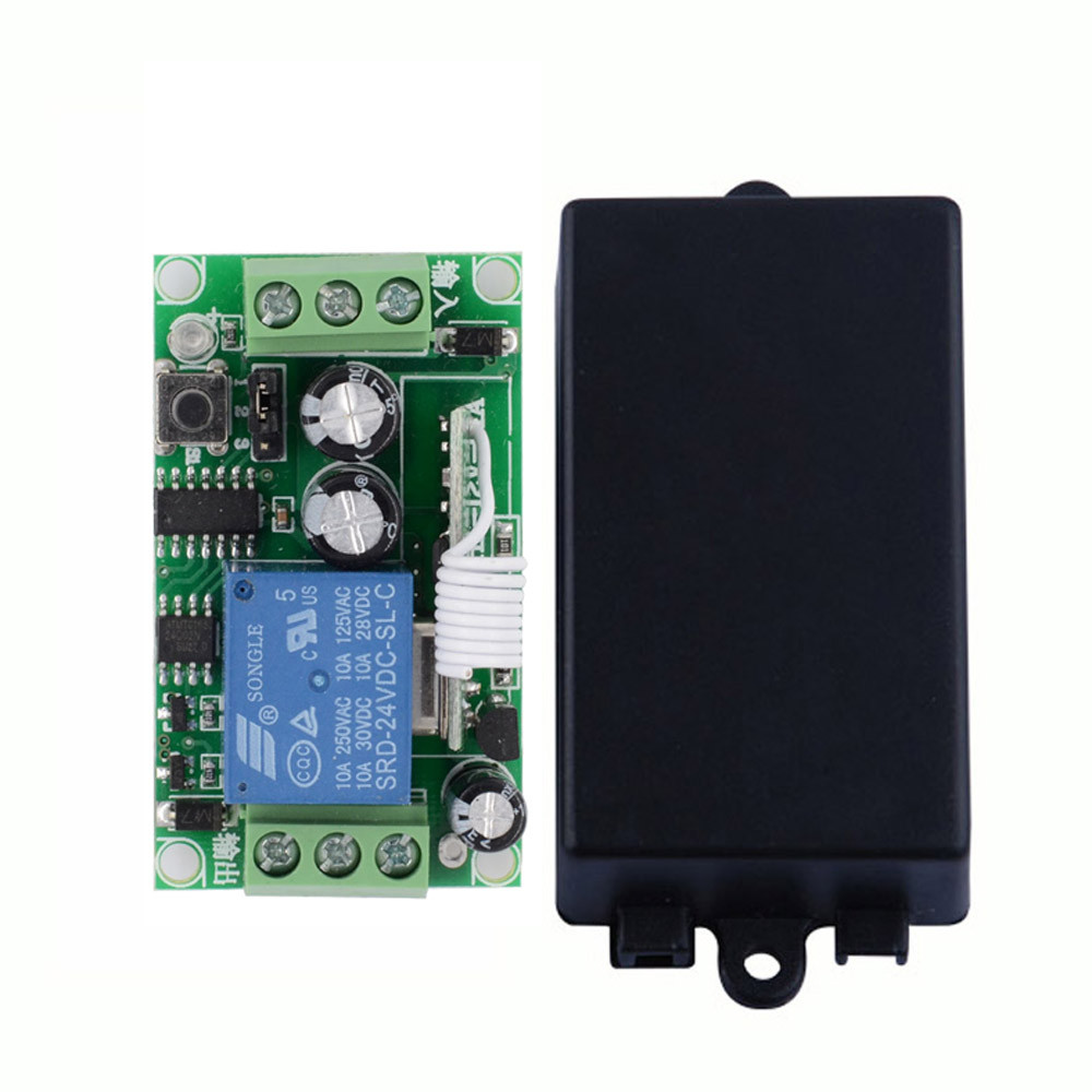 24V DC 1 CH Way Relay Remote Switch NO COM NC 10A Relay Receiver ASK Learning Code MomentaryToggle Latched 315/433.92MHZ 315 433mhz 12v 2ch remote control light on off switch 3transmitter 1receiver momentary toggle latched with relay indicator