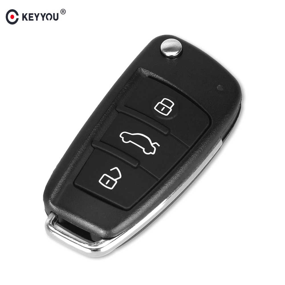 KEYYOU No Blade 3 Button Folding Flip Remote Car Key Shell Case For AUDI A2 A3 A4 A6 A6L A8 TT Key Fob Case Replacement