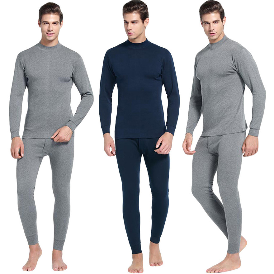 Underwear Pajamas Long-Sleeve Suit Clothing Warm Men's Casual -487 1218 Daily Middle-Collar