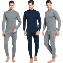 Men s Casual Thermal Long Sleeve Underwear Middle Collar Pure Color Warm Clothing Suit Daily pajamas
