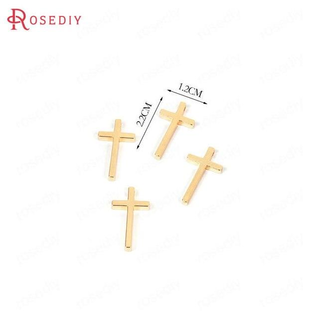 23mm*12mm Elegantes señoras 9ct 2 Color Dorado Cruz Colgante