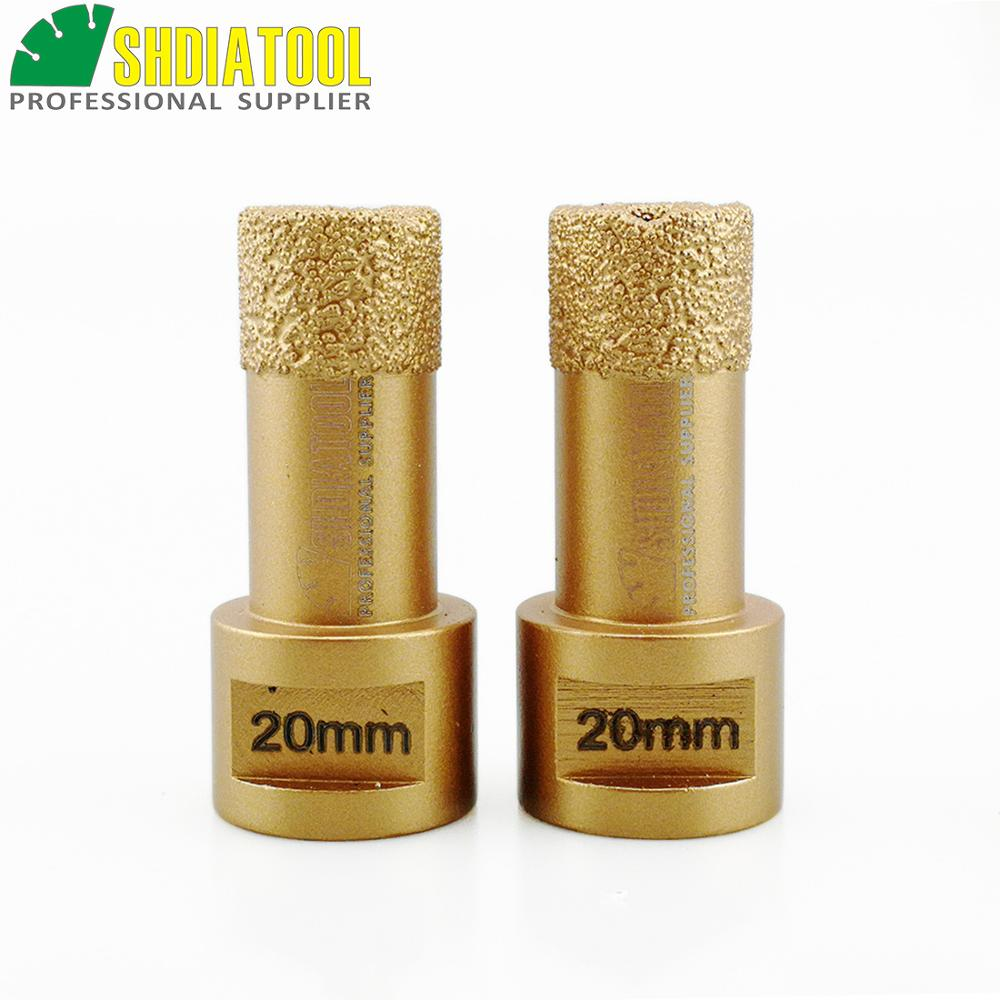 SHDIATOOL 2 pcs 20mm M14 Vide Brasé Diamant Core Bits Pierre Forage - Foret - Photo 1