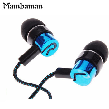 Mambaman For phone MP3 mp4 Roping Stereo Sport Earphones In Ear Earbud Reflective Fiber Cloth Line Metal Earphone PK Headset