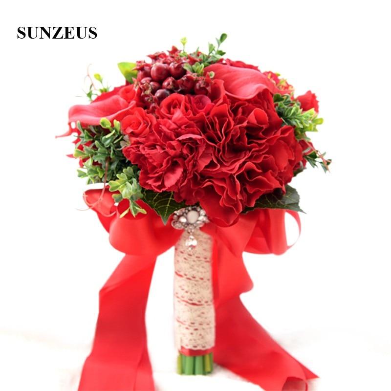 Bouquet de mariage nuptiale avec des fleurs de Rose rouge feuilles vertes perles accessoires de mariage chaud pour mariée bouquet de noiva SWB05