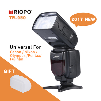 Nowy Triopo TR-950 latarka Speedlite uniwersalny dla Fujifilm Olympus Nikon Canon 650D 550D 450D 1100D 60D 7D 5D aparaty tanie i dobre opinie TR950 Pentax OTHER 5600K battery