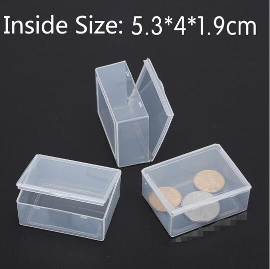 50pcs/lot Transparent Plastic Small square Boxes Packaging Storage Box With Lid for jewelry box Accessories Finishing Box