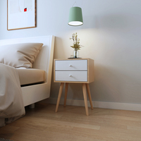 Happy Home Nordic European Foot Nightstands Bedside Side Table With Legs 2 Drawer Bedroom Furniture Desk Bed Cabinets Furniture