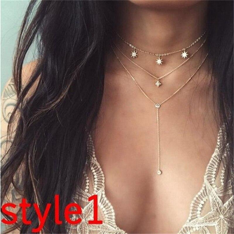 Многослойный Кристалл лунные ожерелья и кулоны для женщин винтажное очаровательное Золотое колье ожерелье богемное ювелирное изделие - Окраска металла: FCS328