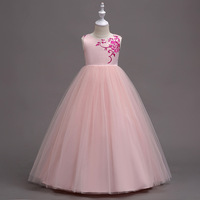 2018 Girls Clothes Long Pink White Sleeveless Princess Party Dress Fashion Floral Embroidery Wedding Dresses Kids