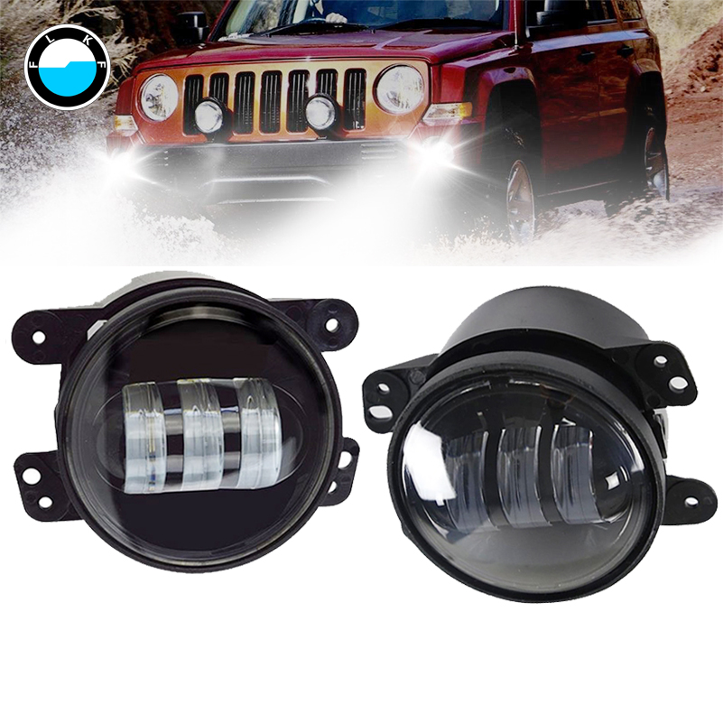 2pcs 4 inch led fog light car accessory 30W headlight for jeep wrangler 07 16 JW