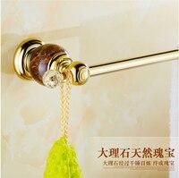 Wholesale And Retail Golden Jade Bathroom Towel Bar Single Towel Hanger Solid Brass Towel Rail