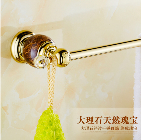 Wholesale And Retail Bathroom Towel Bar Golden Jade Single Towel Rack Towel Hanger Solid Brass Towel Rail retail aluminium towel bar
