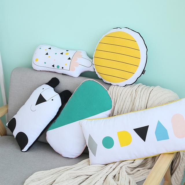 Desenhos Animados do Kawaii Almofadas Travesseiro Geométrica 4 Estilos Crianças Brincam Educacional Casa Quarto Decoração Presente Das Crianças Frete Grátis 1 pcs