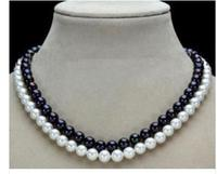 2 Row 7 8mm Black White Natural Pearl Necklace 17 18 Factory Wholesale Price Women Gift