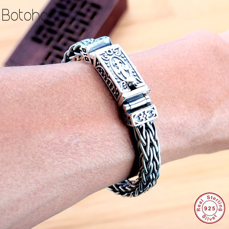 2018 Thai silver jewelry 925 sterling silver men bracelet male domineering personality retro fashion Chain Link Charm bracelet 925 sterling silver men bracelet dragon scale bracelet men s coarse heavy thai silver chain punk fashion personality bracelet