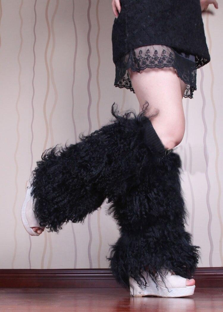 Lange haren Mongoolse lamsbont been warmer / boot topper / echte - Kunsten, ambachten en naaien - Foto 5