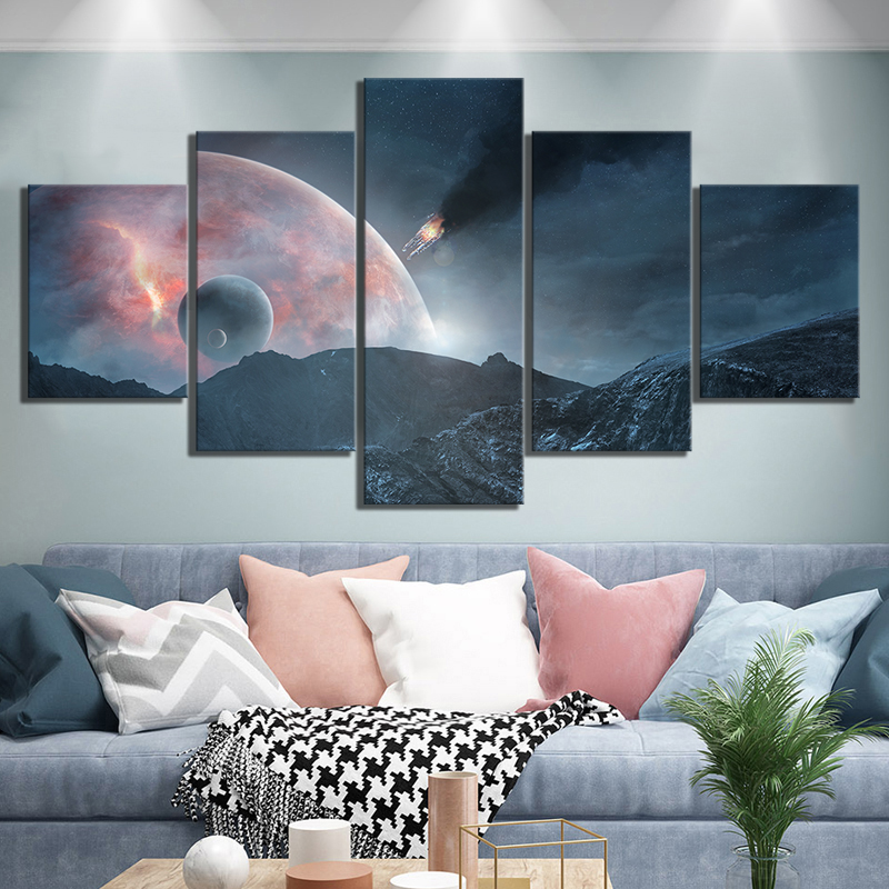 Canvas Prints Painting Home Decor Outer Space Landscape 5 Panel Mass Effect Andromeda Game Pictures Modular Frame Bedroom Poster image
