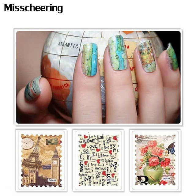 1sheet Creative Nail Art Flower Full Water Transfer Postage Strip