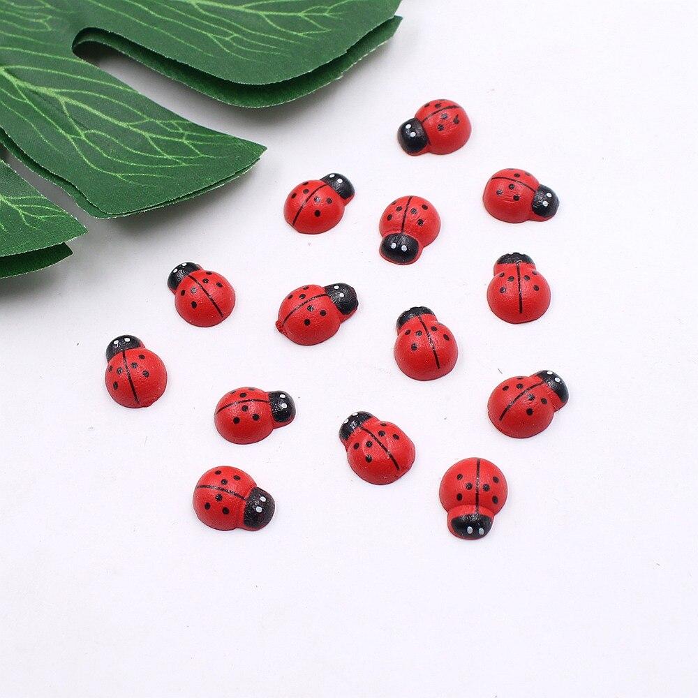 10pcs wooden simulation beetle garden ornament simulation realistic ladybug mini panel landscape ladybug decoration craft