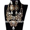 Lujo Clara de Cristal de Oro Estilo Indio Collar Pendiente de Piedra Grande Diseño Nupcial de la Boda set de Joyas para Las Mujeres