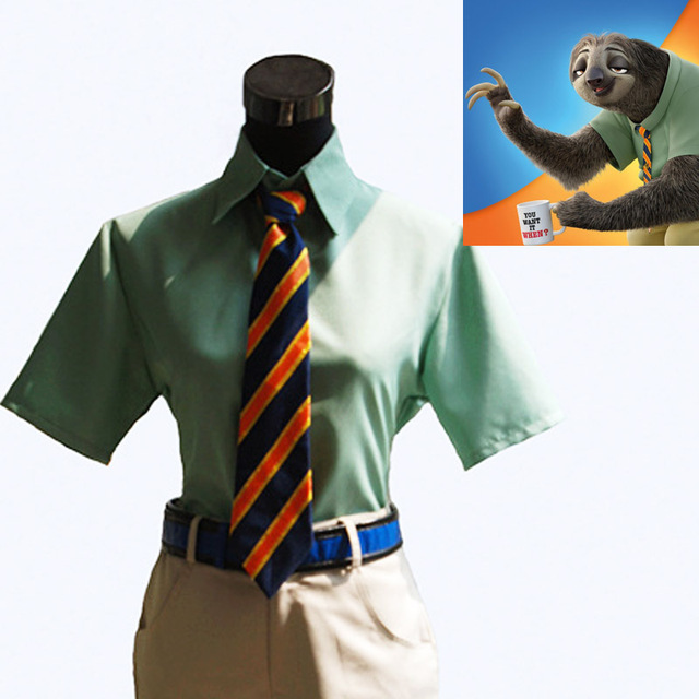 Cos ZOOTOPIA Flash Cosplay Costume Sloth Cosplay DMV Suit Vehicle  Administration Suit Green Male Movie 9a0c6398d117