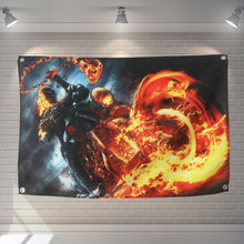 """Ghost Rider"" Movie Banner Bandiera Appesa Poster Wall Sticker Cafe Restaurant locomotiva club Live Sfondo Decorazione(China)"