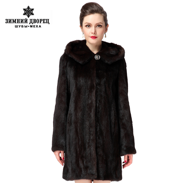 Coats of fur ,New Style Winter Warm mink coat for women, coats of natural mink brown mink fur coat with a hood, free shipping