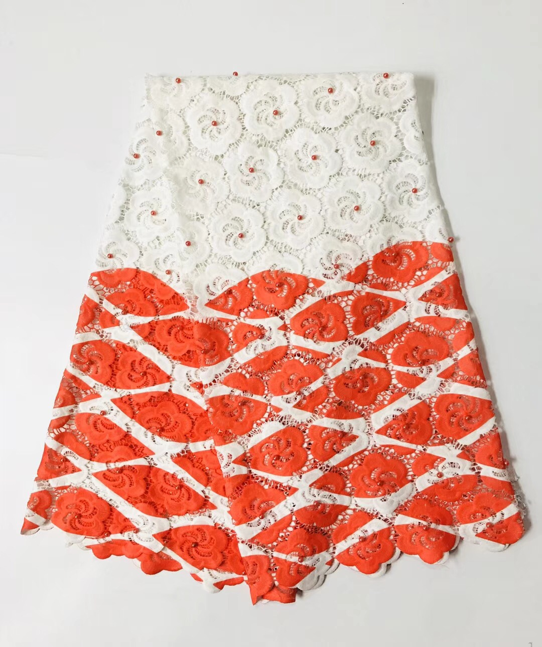 Orange African Lace Fabric High Quality Guipure Lace Embroidery Bridal Beaded Trim For Nigerian Dress R20892 Latest Fashion Home & Garden