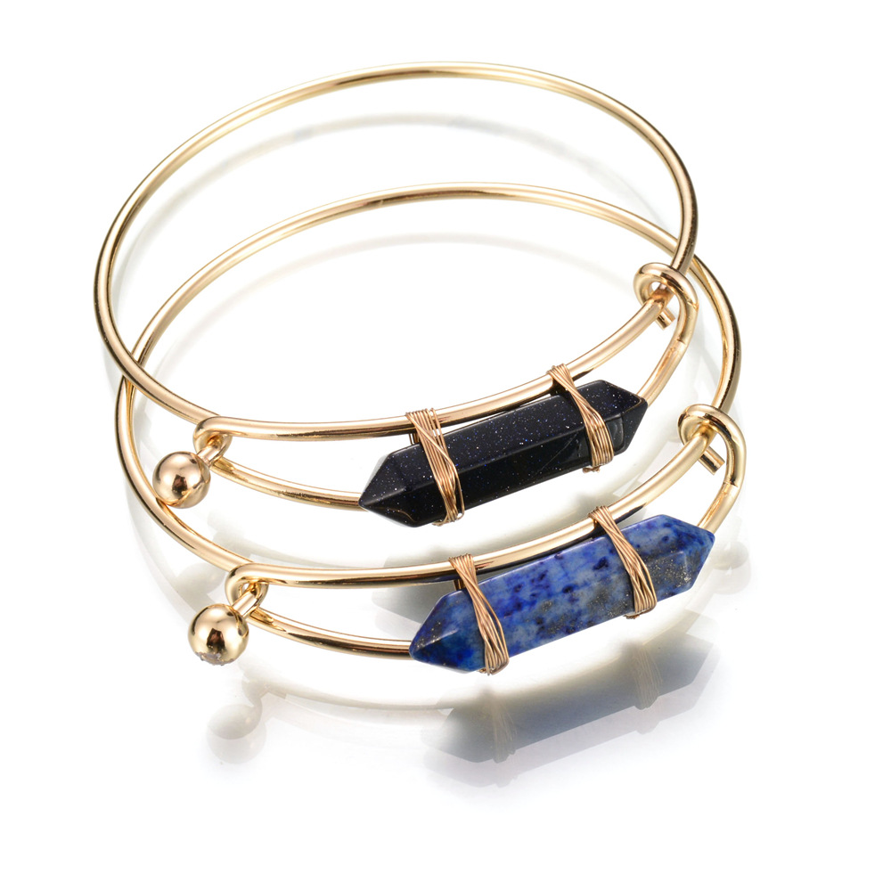 Wire Bangle Charm Bracelet: Gold Wire Wrap Bangle Black Lapis Hexagonal Crystal Point