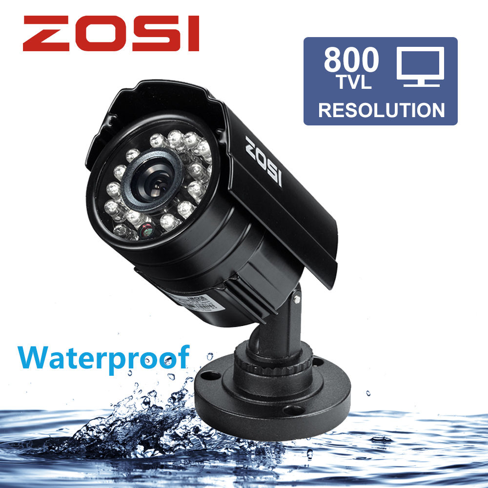 ZOSI 1/3 Color CMOS 800TVL Bullet Mini CCTV Camera HD Outdoor Black 24 IR Leds Day/Night Security Home Video Surveillance Camera